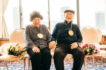 幸男と政子の米寿祝 | 家族写真(ファミリーフォト)